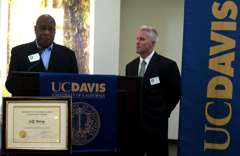 Yolo County District Attorney Jeff Reisig receives leadership award from retired UCDPD Police Chief Emeritus Calvin Handy. The Calvin E. Handy Leadership Award is a crime prevention and public safety award that recognizes individuals based on community oriented engagement and activities that are collaborative, cooperative, and proactive. This award highlights the importance of maintaining an environment where safety is essential to the successful mission of UC Davis and its surrounding communities.