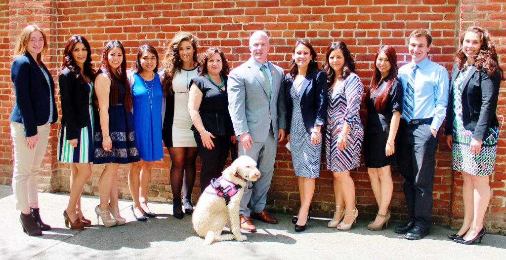 YCDA Victim Services staff with DA Jeff Reisig and Comfort Dog Aloha.