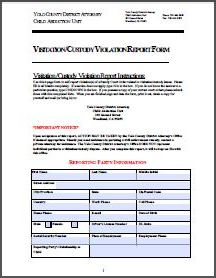 Visitation Custody Violation Report Form