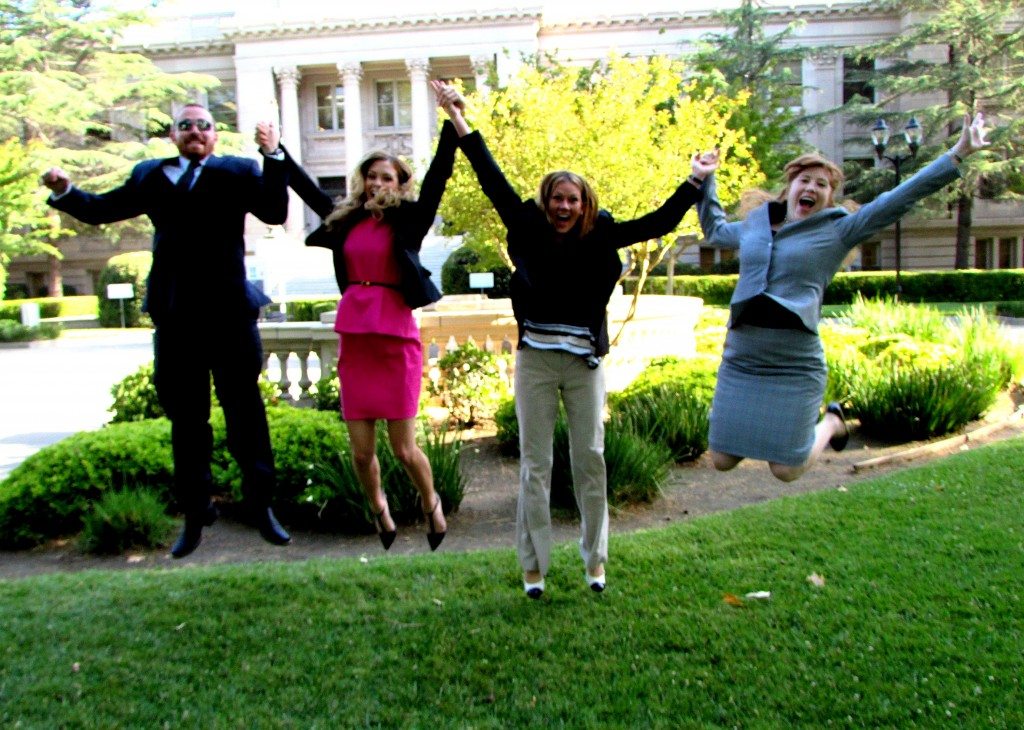 Our 2014 Legal Interns (Adam Seraphin, Alexandra Myers, Ahnna Reicks, & Karly McCrory) Jumping for Joy!