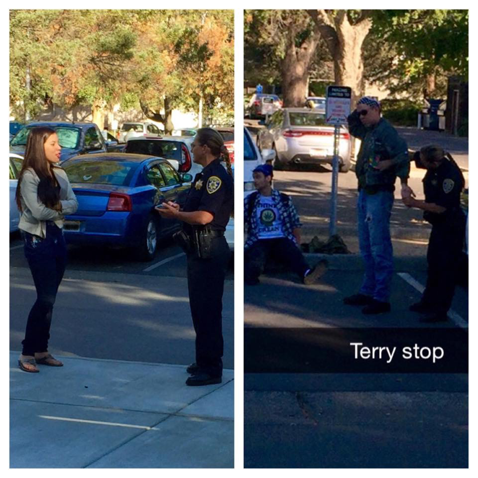 UC Davis School of Law, class exercise teaching about a Terry Stop. The man being pat down is actually a criminal procedure professor. Pictured to the left with the Officer is DA Intern and King Hall law student Beatriz Alfaro.