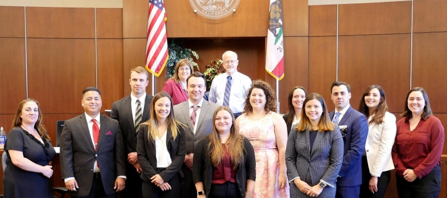 Legal Interns from the District Attorney's Office and Public Defender's Office at a brown bag lunch get-together with Judges Rosenberg and Beronio.