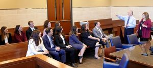 The image includes Judges Rosenberg and Beronio (Far right) answering questions from the Legal Interns from the District Attorney's Office and Public Defender's Office.
