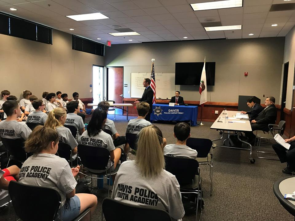 Deputy District Attorney David Robbins performs DUI trial at the Davis PD Youth Academy