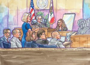 Sketch depicts the mental health court team at the graduation ceremony