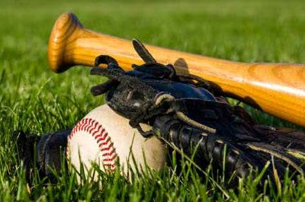 Image depicts a baseball bat, mitt and ball lying in the grass