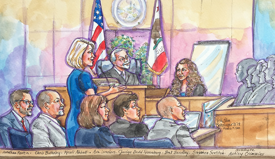 Sketch by Vicki Behringer that includes participants in the Mental Health Court graduation.