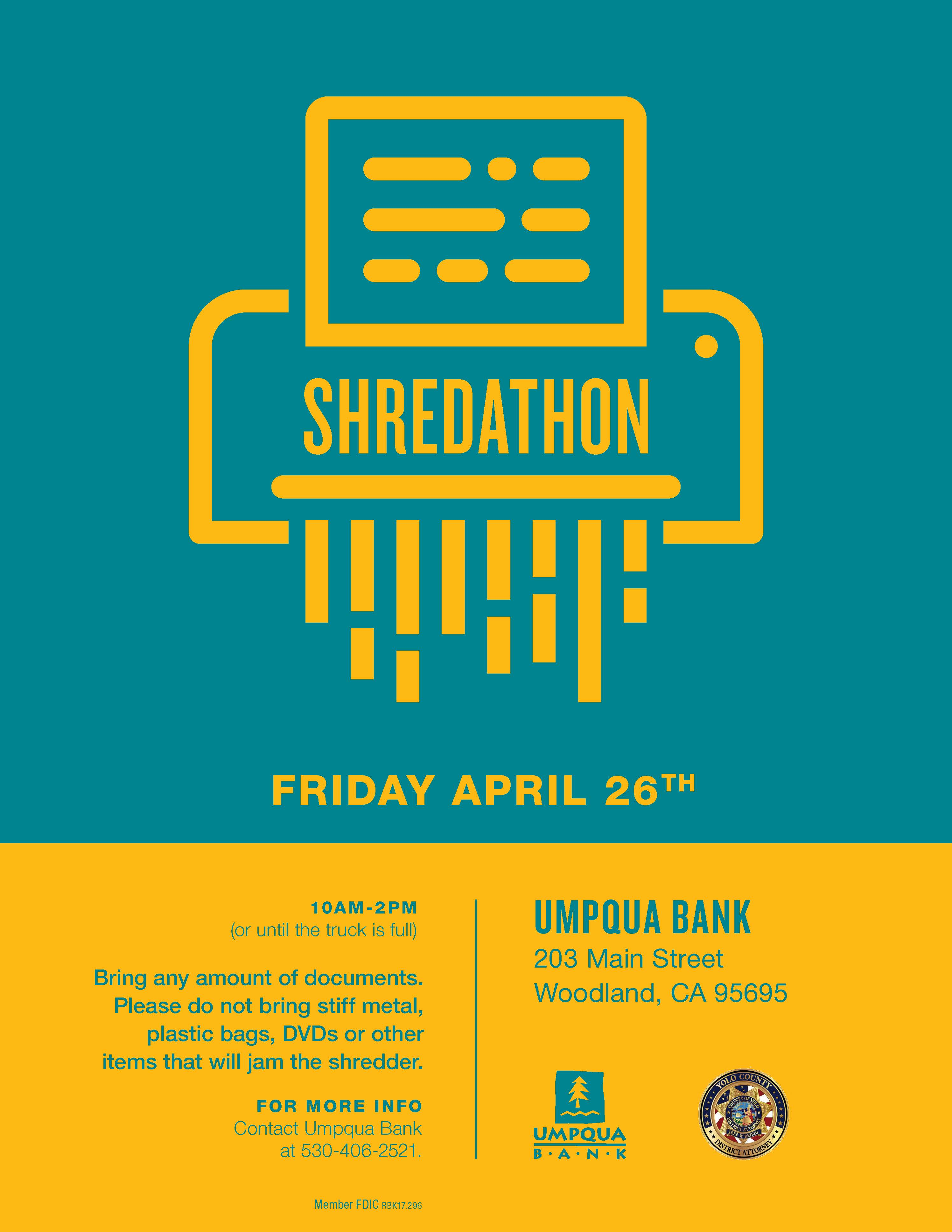 Yolo DA and Umpqua Bank Sponsor Free Shred Day | Yolo County
