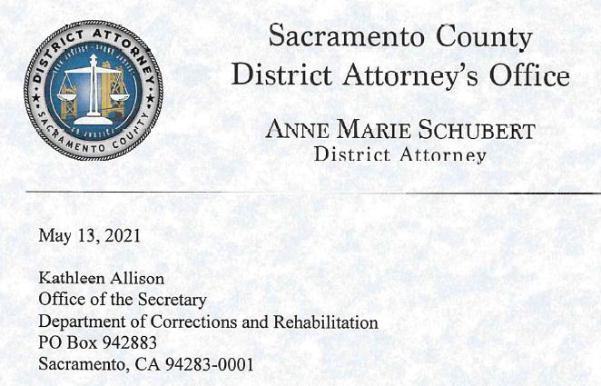 Image depicts letterhead from Sacramento DA to the CDCR Secretary Kathleen Allison